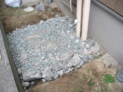 砕石の敷き詰め